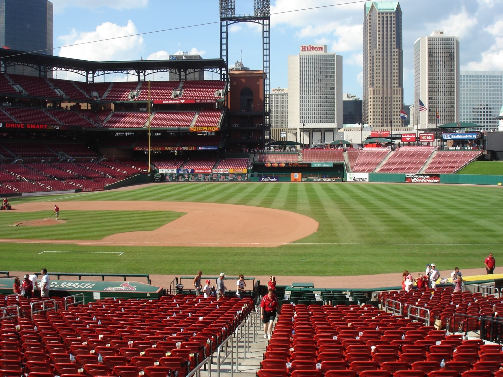 Busch Stadium with downtown STL in the outfield