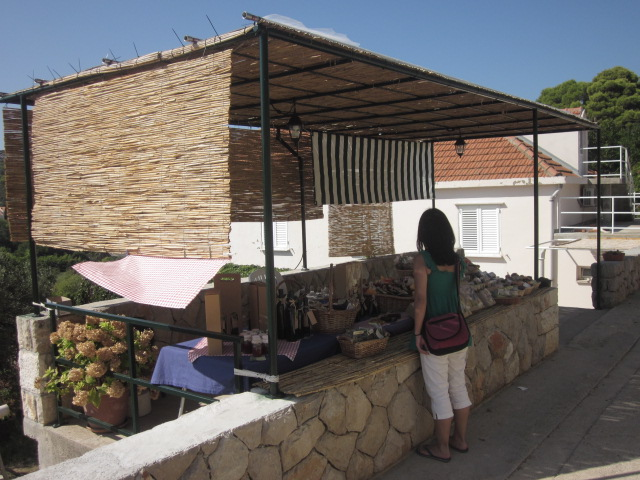 We walked by this charming little homemade olive oil and brandy stand on Kolocep island