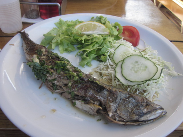 Freshly grilled mackeral served on board our boat