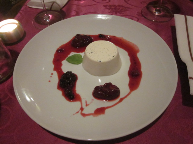 Panna cotta with forest fruits.  No idea what forest fruits are, but they sure were tasty!