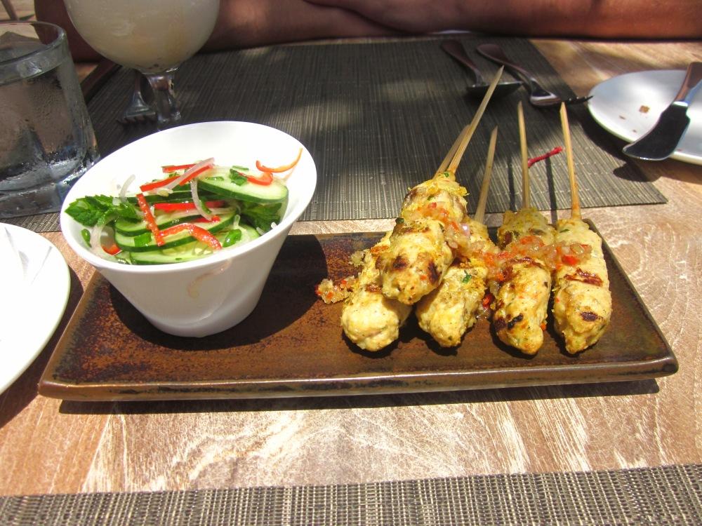 Shrimp and fish satay