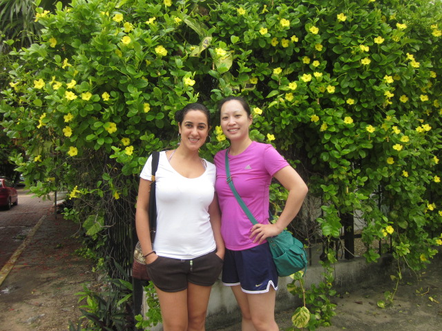 Beata and Thanh, standing pretty on the flower-lined streets of Playa