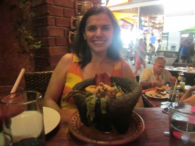 Liuba's molcajete, which featured shrimp in a stew with peppers and veggies in a sizzling clay pot