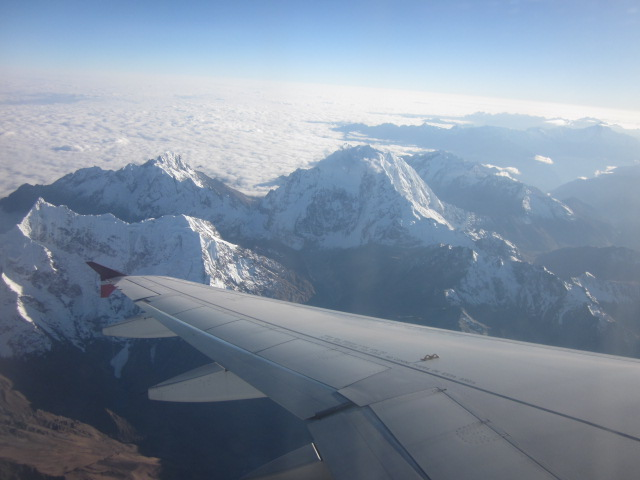 Our view cruising over the Andes in our final descent into Cusco