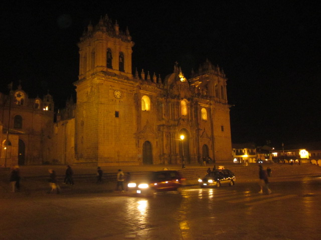 The grand basilica light up at Plaza de Armas