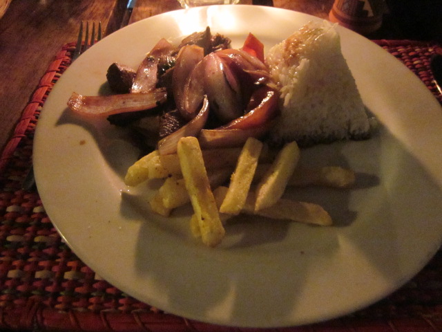 Lomo saltado, Peru's national dish, stir fried beef with rice and fries