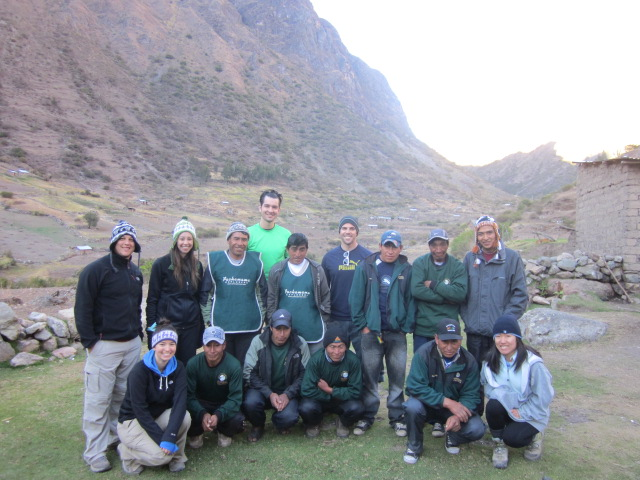 The whole Inca Trail Dream Team on Day 2...the 6 of us trekkers, Francisco, our cook, and 8 superstar porters