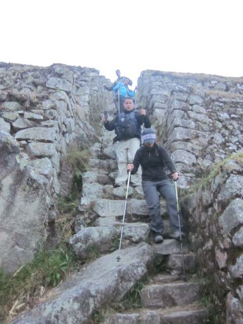 "Transitioning from Inca steps to ""regular"" stairs.  By regular, I mean rocky, steep, and uneven."