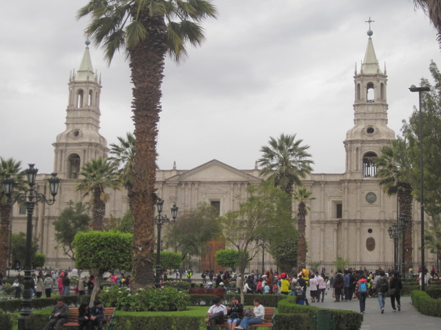 Facing the main Cathedral in the Plaza de Armas