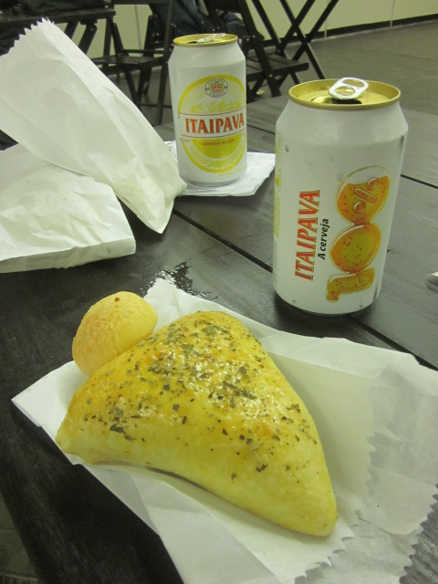 Pastels, a popular Brazilian street food filled with meat, and my personal favorite, pao de queijo (yes, more).  And of course a lovely Itaipava to wash it all down.