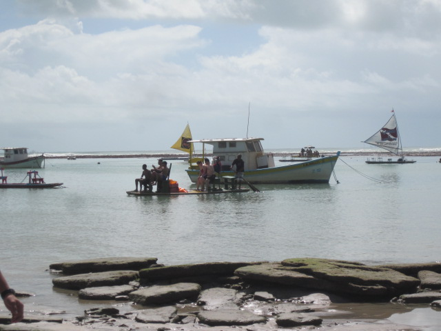 Jangadas, or fishing boats, lined up and ready to take us out to the reefs