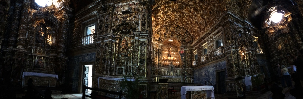 Panoramic inside the Igreja do Sao Francisco shows just how much gold was used inside