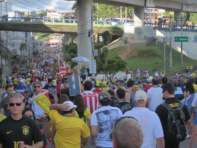 The march to the stadium