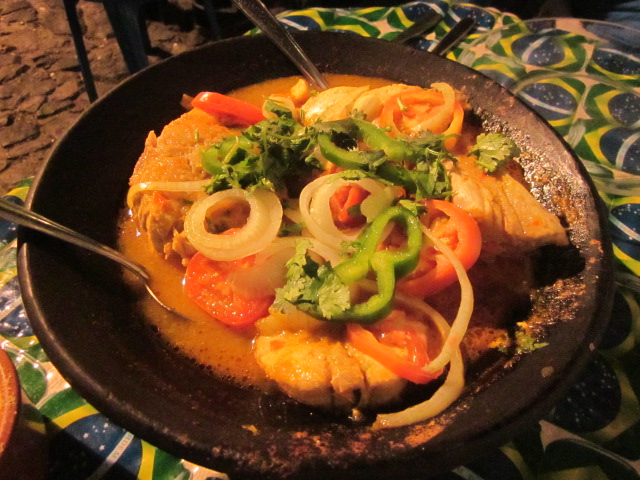 Moqueca with fish, another traditional dish of Bahia.  Basically a Brazilian stewlike curry (non-spicy) also using dende (palm oil), tomatoes, coconut milk, and spices