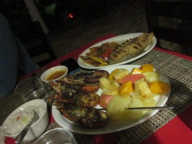 Our feast at the pousada of fresh grilled lobster and a fantastic grilled local fish