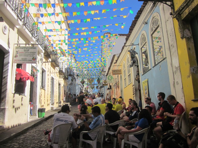 One of the many makeshift outdoor spaces on the streets of Pelourinho where we could order cheap beers from street vendors and sit outside to watch games