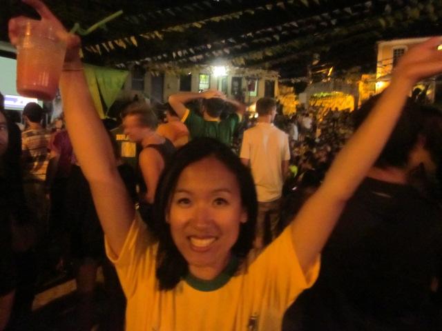 Celebrating a 2-1 Brazil victory