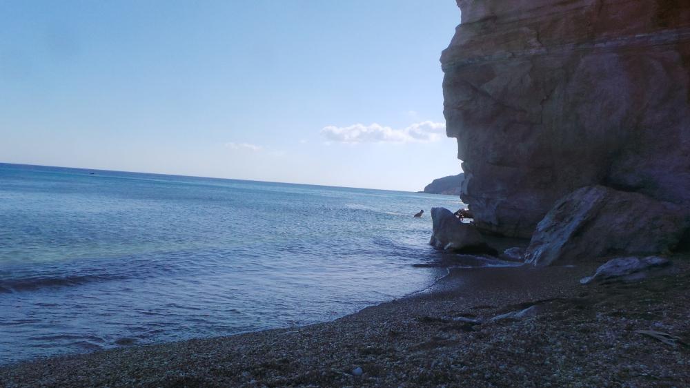 The much calmer coastline at Paleochora beach