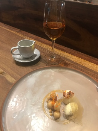 """Bread, Milk, and Honey"" with a glass of creme caramel tea"